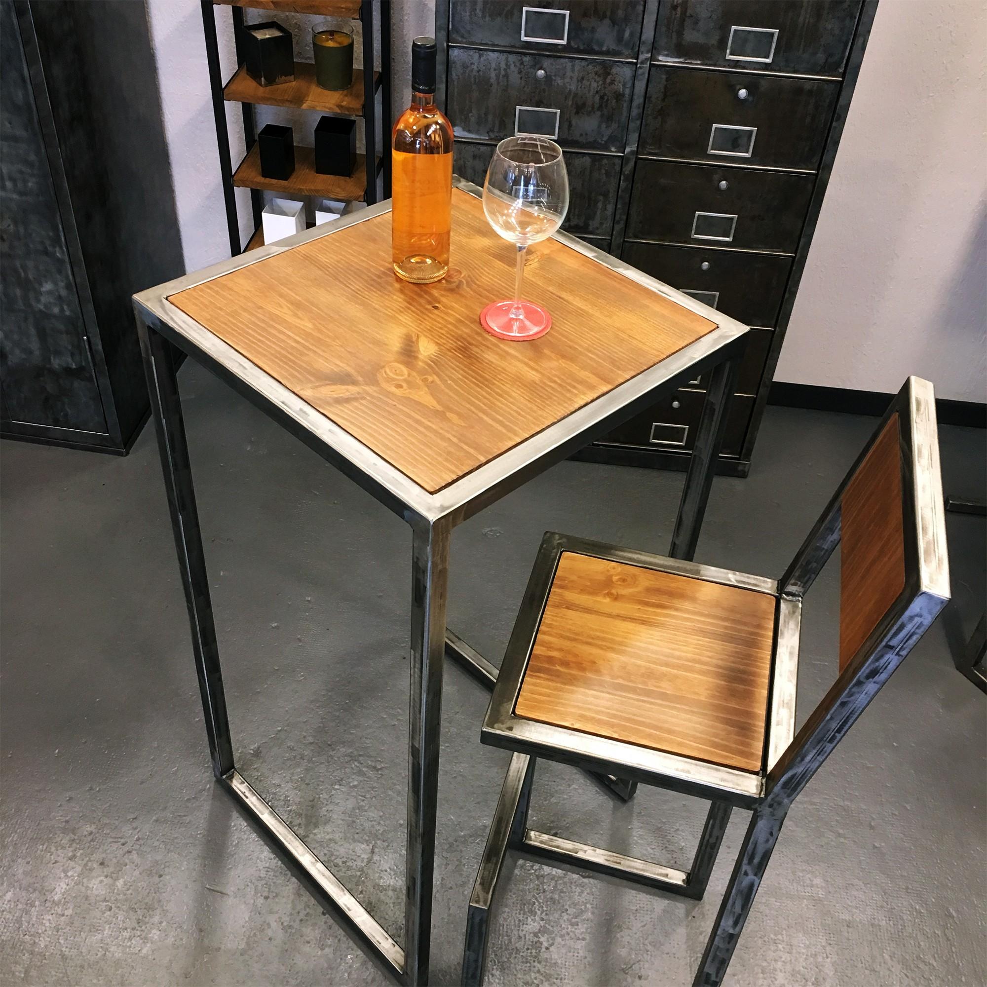Fabriquer Une Table Haute En Bois table haute en acier et bois - fabrication française - sur